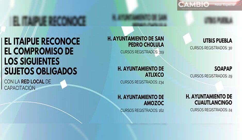 En materia de transparencia, reconoce ITAIPUE al Ayuntamiento de Atlixco