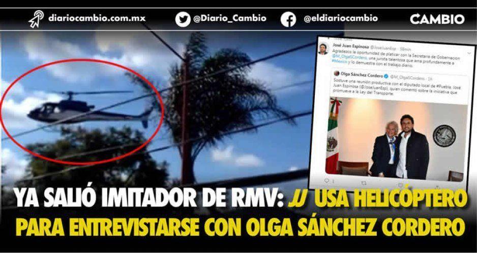 Ya salió imitador de RMV: JJ usa helicóptero para entrevistarse con Olga Sánchez Cordero (VIDEO)