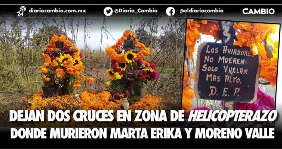 Dejan dos cruces en zona de helicopterazo  donde murieron Marta Erika y Moreno Valle