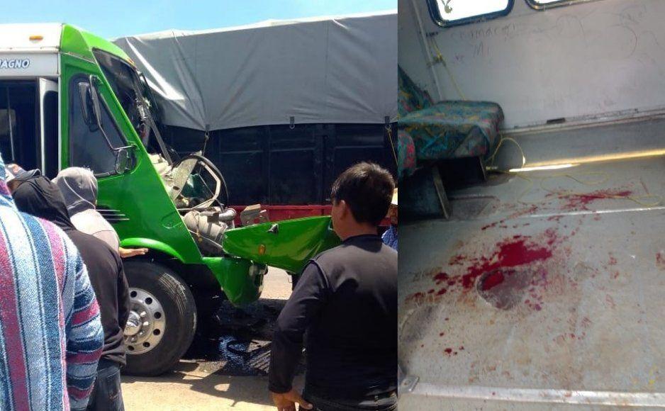 Fuerte accidente entre tortón y microbús deja 10 lesionados en Huixcolotla