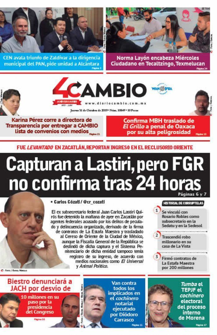 Capturan a Lastiri, pero FGR no confirma tras 24 horas