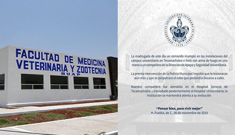 Comando armado irrumpe en campus BUAP de Tecamachalco y lesiona a guardia