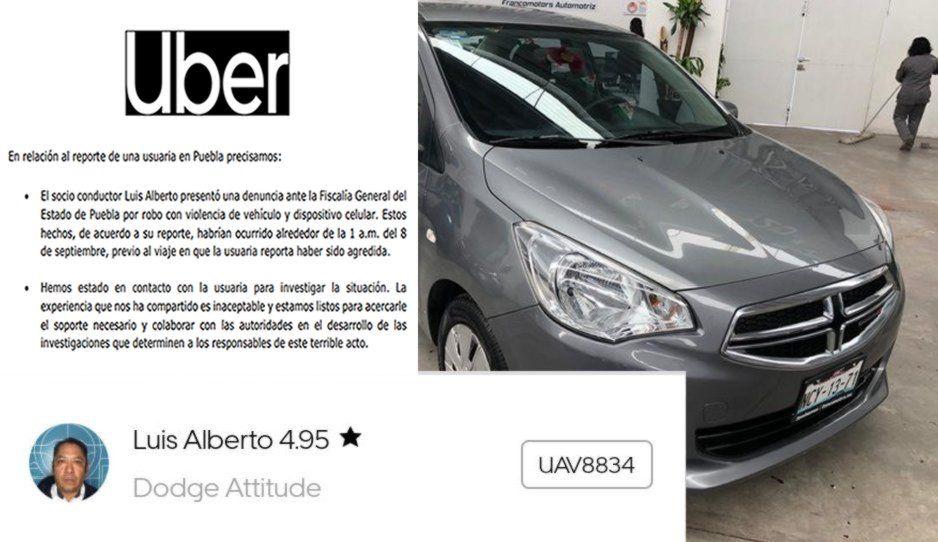 Me robaron el coche antes del intento de violación: así se justifica chofer de Uber