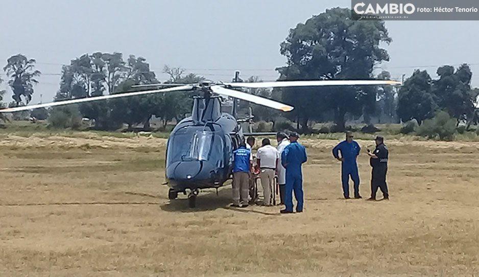 Trasladan en helicóptero a baleado en Texmelucan a hospital de Traumatología y Ortopedia