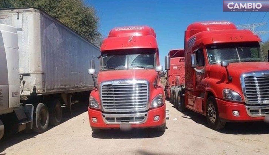 Localizan seis camiones en Querétaro, fueron robados en Huejotzingo; hay cuatro detenidos