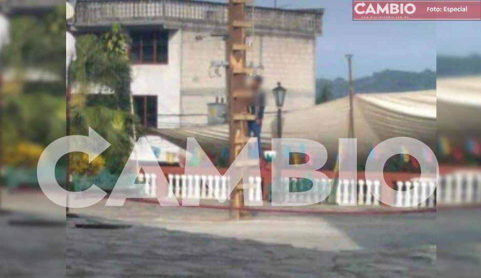 Se suicida comerciante colgándose del palo de los voladores en Cuetzalan
