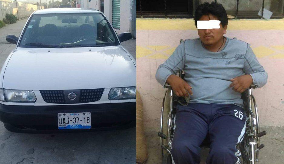 ¡Con los discapacitados no! Lo tiran de su silla de ruedas y el roban su Tsuru en Tlahuapan