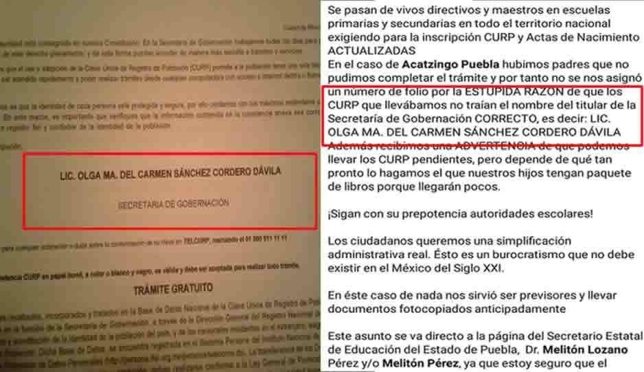 Así la 4T: Escuelas de Puebla exigen a alumnos CURP con la firma de Sánchez Cordero para inscribirse