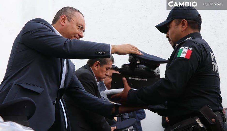 Guillermo Velázquez refuerza con equipamiento al cuerpo de Seguridad Pública de Atlixco