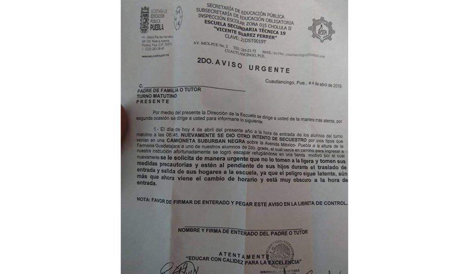 Directivos de la técnica 19 de Cuautlancingo, piden a padres cuidar a sus hijos ante ola de secuestros