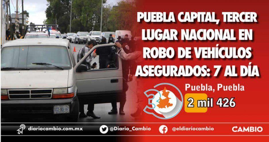 Roban en Puebla 7 vehículos asegurados al día, según AMIS