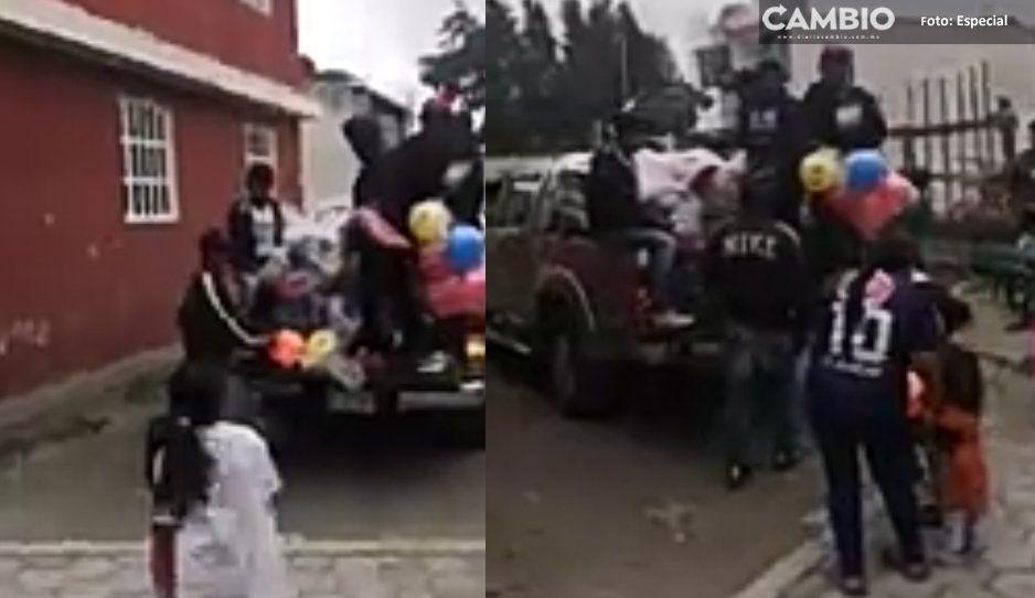 """Líder huachicolero de Texmelucan regala juguetes a niños: """"el Loco Téllez los festeja en grande"""" (VIDEO)"""