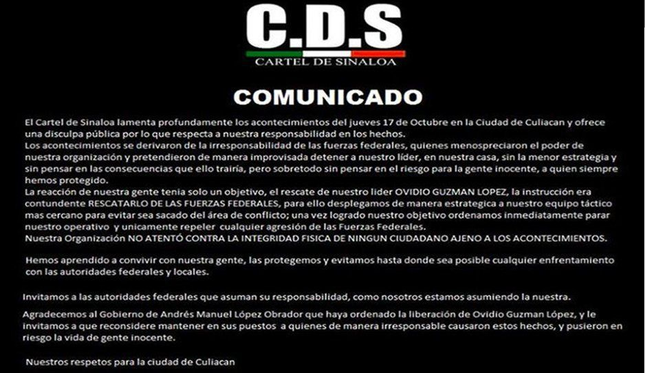 Cartel de Sinaloa agradece el respeto de AMLO y la liberación del Chapito