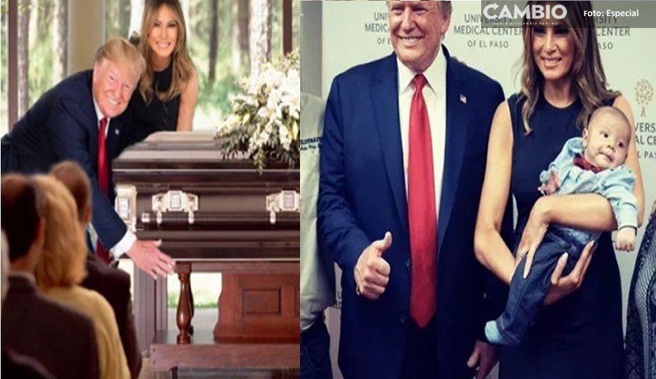¡No es broma! Trump posa con bebé huérfano y con ataúdes tras tiroteo en El Paso