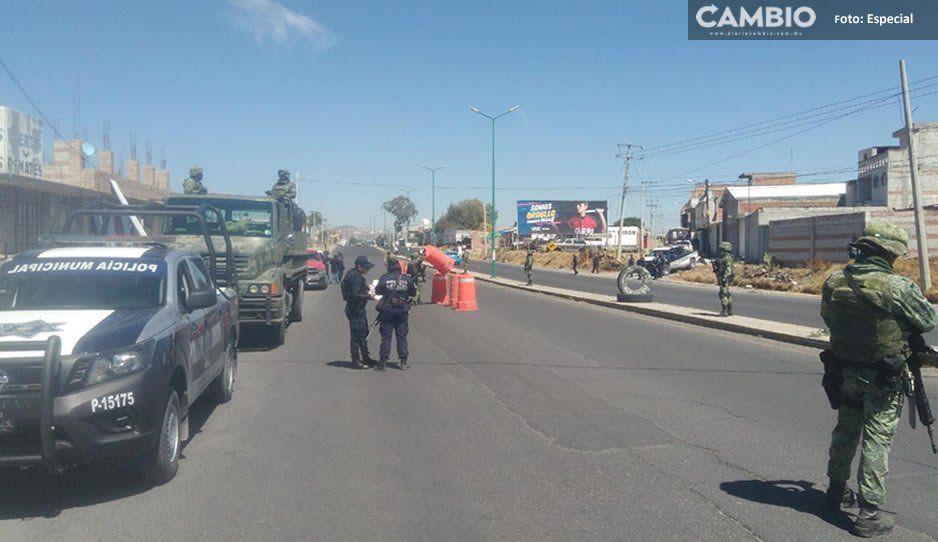 Realizan mega operativo en Texmelucan tras balacera que causó pánico en vecinos