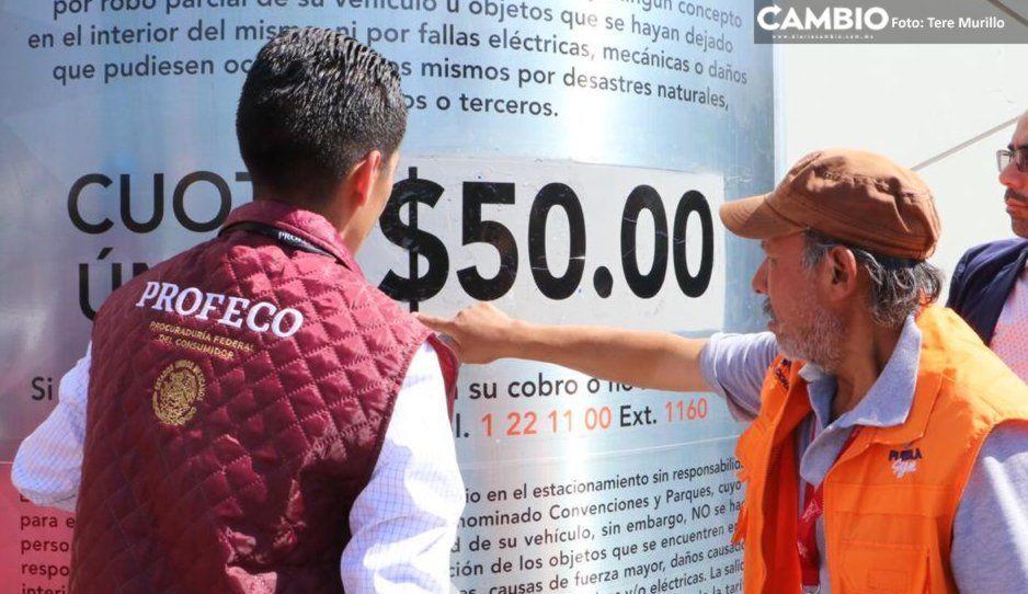 PROFECO verifica precio de estacionamiento de la Feria de Puebla