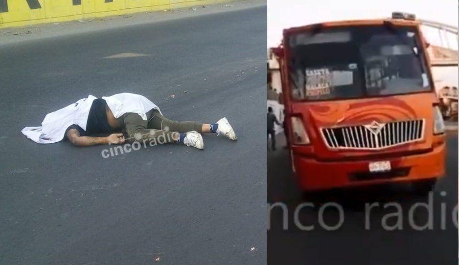 Ruta Malacatepec arrolla y mata a peatón en Tlaxcalancingo (VIDEO)