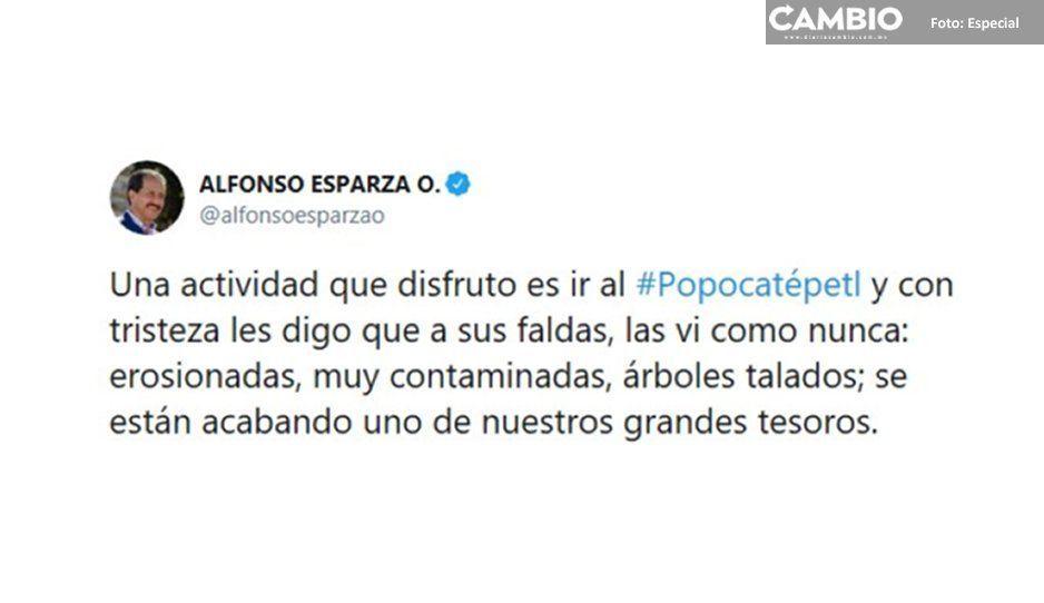 Esparza, indignado ante ecocidio en el Popo: están acabando con nuestros tesoros