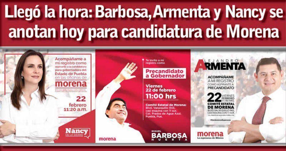 Llegó la hora: Barbosa, Armenta y Nancy se anotan hoy para candidatura de Morena