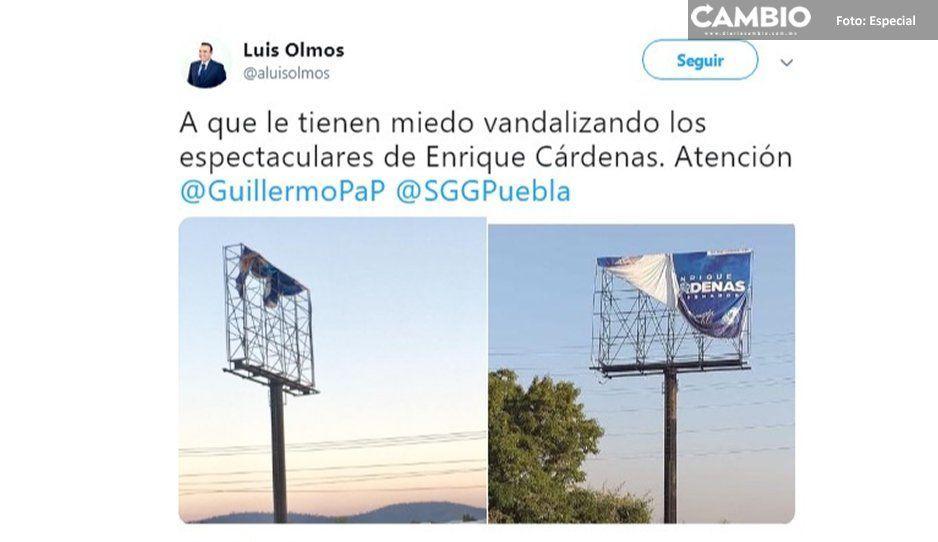 Panistas denuncian la destrucción del único espectacular de Cárdenas en la México-Puebla