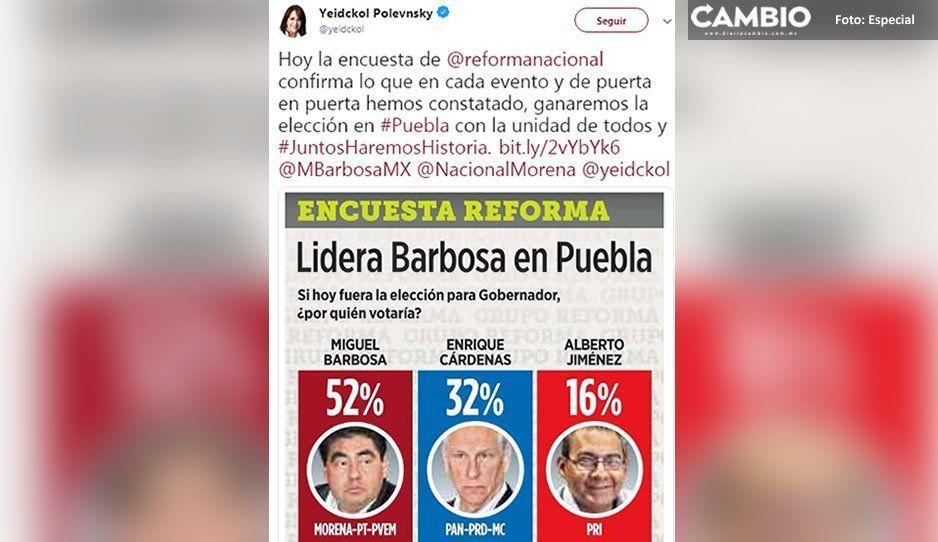 Festeja Yeidckol encuesta de Reforma que le da ventaja a Barbosa de 20 puntos sobre Cárdenas