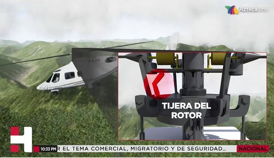 Falló la tijera del rotor principal del Agusta, según TV Azteca sin citar especialistas ni fuente del dictamen del helicopterazo