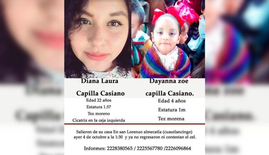 Ayuda a localizarlas: desaparecen Diana Laura y la pequeña Dayanna Zoe en Cuautlancingo
