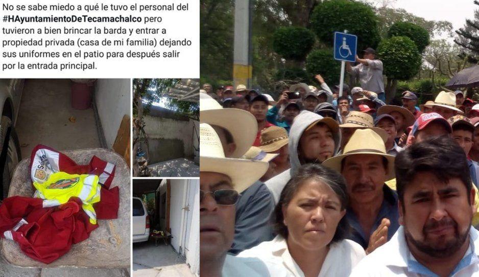 Protección Civil de Tecamachalco se escondió ante manifestación de habitantes de Palmarito
