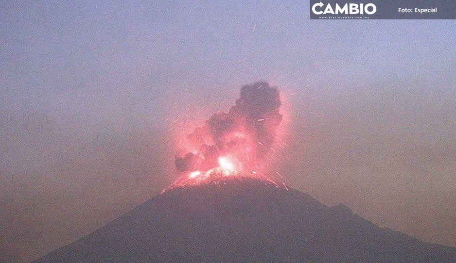 Explosión del Popocatépetl provoca daños en ventanas