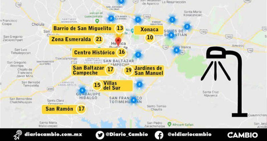 Estas son las colonias con más fallas  de alumbrado público en Puebla capital