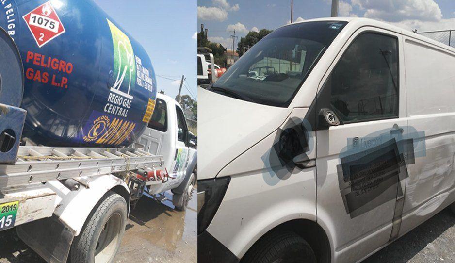 Policías de Texmelucan recuperan camioneta y pipa de gas robada con violencia