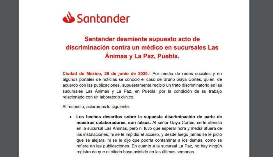 Santander responde ante acusaciones: personal de La Paz y Las Ánimas nunca discriminó al doctor Bruno Gaya
