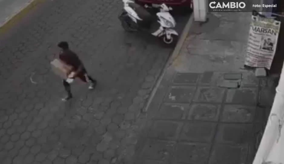 ¡El colmo! Ladrón roba caja de leche en Atlixco