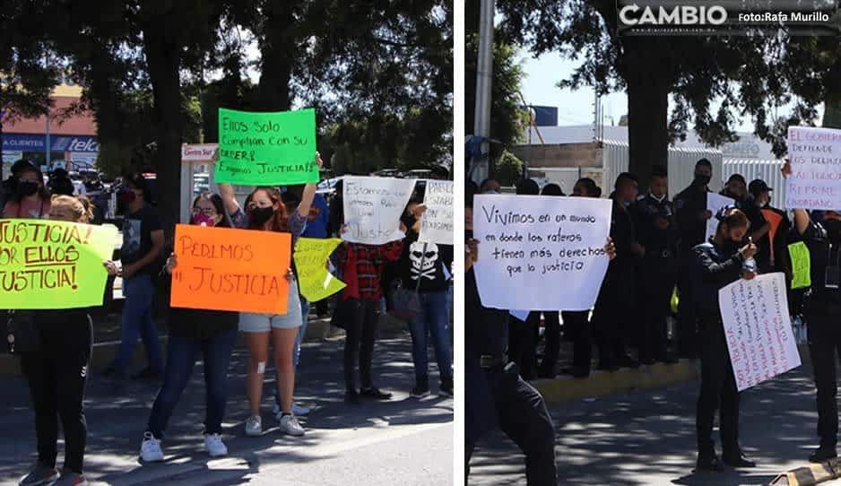 Policías y familiares exigen liberación de oficiales
