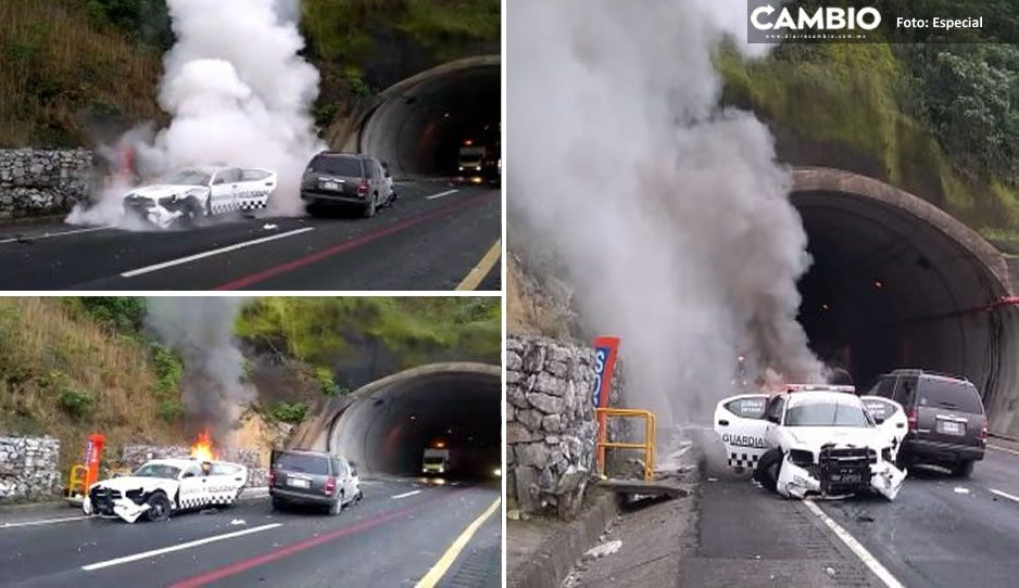 Se incendia patrulla de la GN tras choque de autobús con automóvil en Xicotepec (VIDEO)