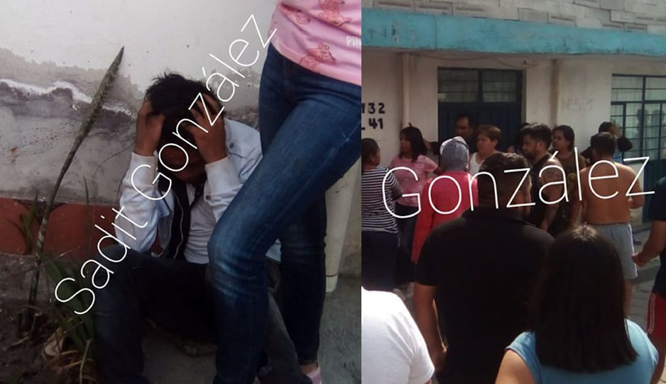 Vecinos de Amozoc agarran a ratero que le había arrebatado sus pertenencias a una joven