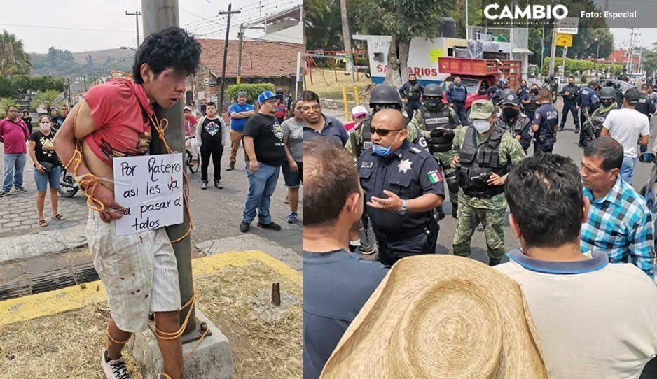 Tras pasar varias horas amarrado; ciudadanos entregan al malnacido violador El Cabeca a la policía de Atlixco (VIDEO)