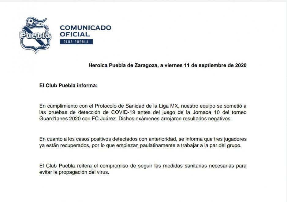 ¡Con todo para enfrentar a Juárez! Club Puebla se encuentra sin casos de Covid-19