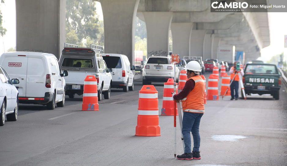 ¡Precaución! Bacheo en la México-Puebla provoca tráfico desquiciante a la altura de Finsa (VIDEO)