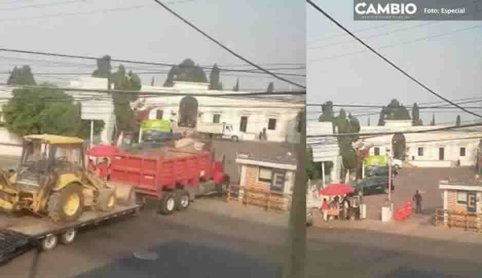 Entra maquinaria pesada al panteón de La Piedad para excavar nuevas fosas ante incremento de muertos por coronavirus (VIDEO)