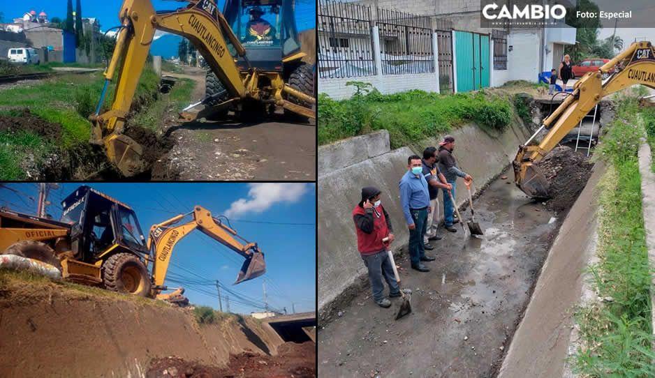 Grupo de Seguridad Hídrica Municipal de Cuautlancingo intensifica la limpieza de canales pluviales