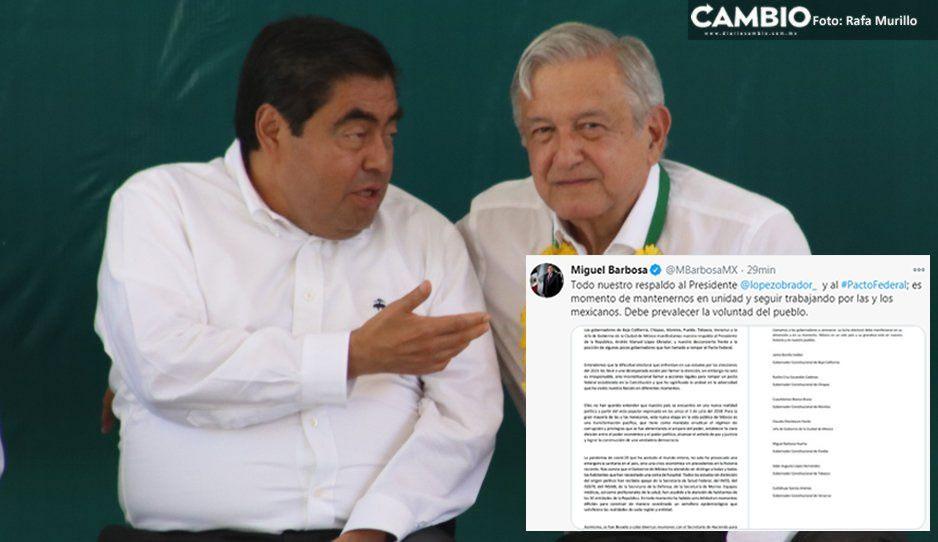 Barbosa y los gobernadores de Morena rechazan ruptura del pacto federal en apoyo a AMLO