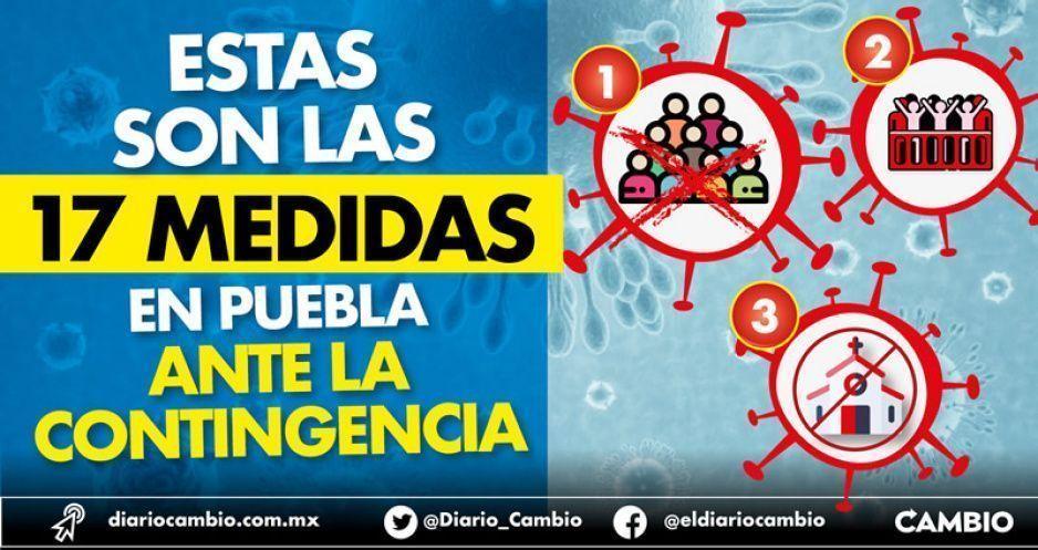 Estas son las 17 medidas en Puebla ante la contingencia