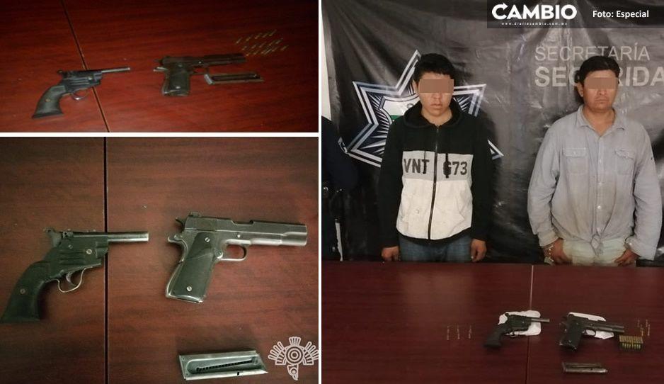 ¡Como película de vaqueros! Detienen a dos pistoleros en San Juan Epatlán