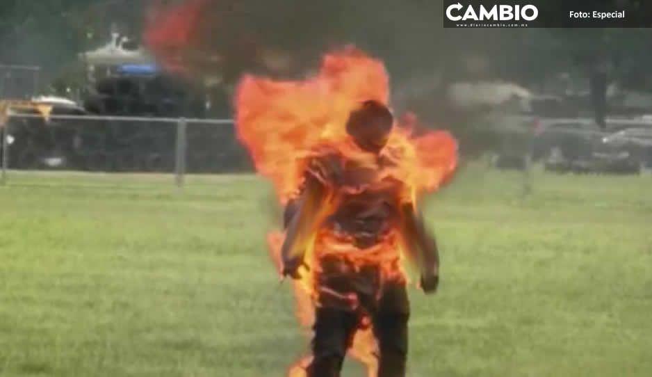 Adicto se cree uno de los 4 fantásticos: se prende fuego con gasolina en Izúcar