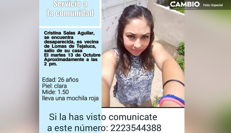 Ayuda a encontrarla; Cristina Salas Aguilar desapareció en Atlixco