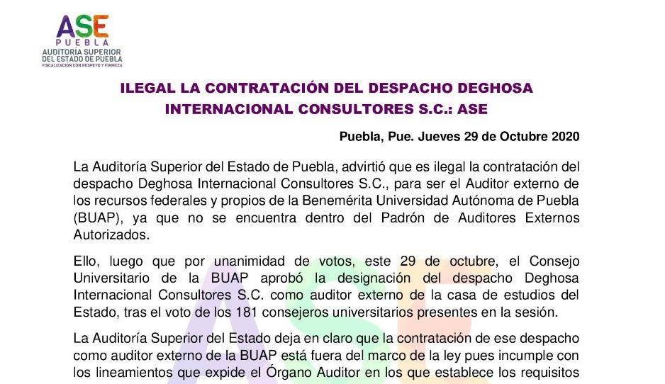 ASE declara ilegal contratación de la BUAP de despacho Deghosa Internacional Consultores