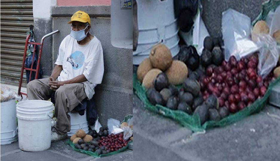 Abuelito sale a vender fruta en el Centro Histórico para sobrevivir al Covid ¡Ayúdalo!