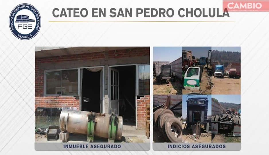 Fiscalía asegura cuatro vehículos con reporte de robo durante cateo en San Pedro Cholula