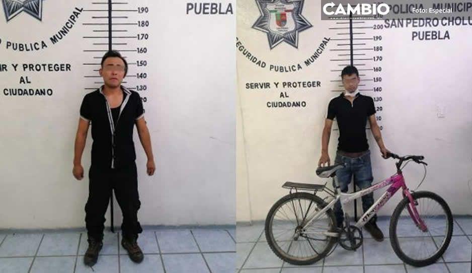 Captura policía de San Pedro Cholula  a dos hombres por robo y lesiones